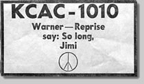 "KCAC Radio Station Ad - ""So long, Jimi"""