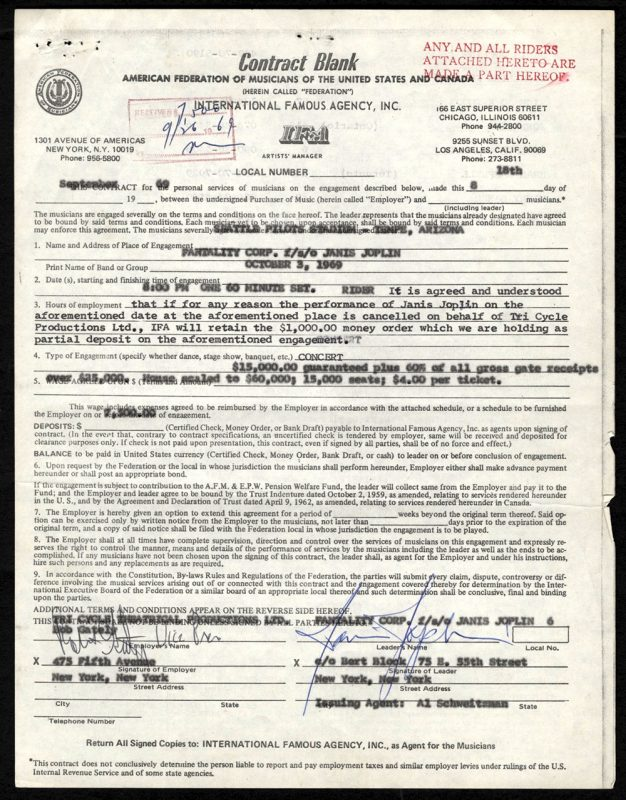 Janis Joplin Contract