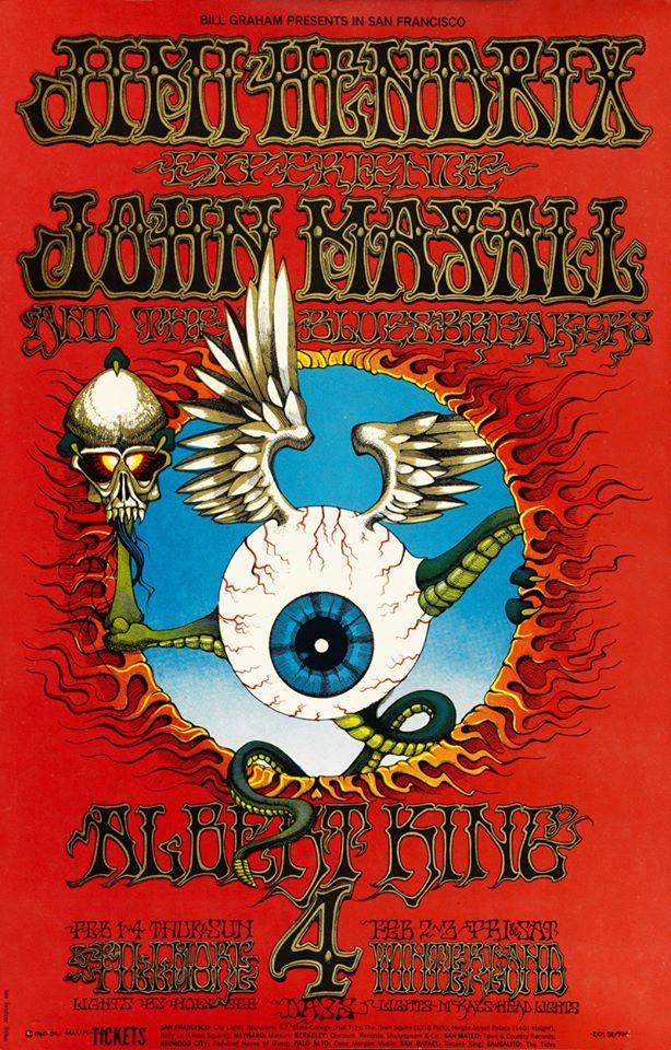 JImi Hendrix Fillmore poster-1968